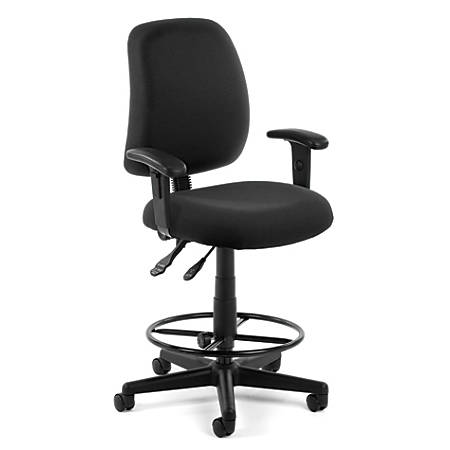 OFM Posture Series Fabric Task Chair With Drafting Kit, Black/Black