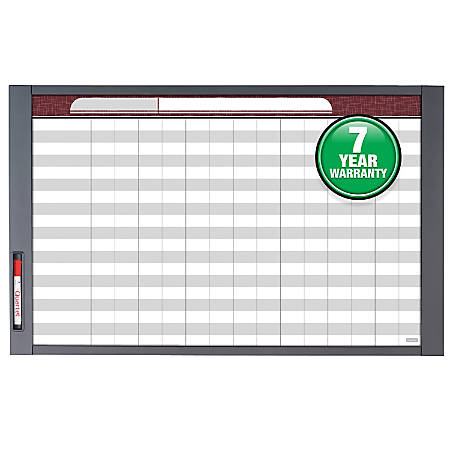 "Quartet® InView™ Custom Whiteboard, 47 1/2"" x 35"", White Board, Gray Graphite Frame"