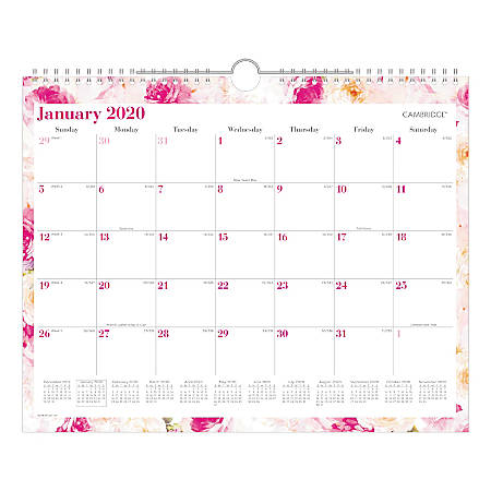 "Cambridge® Anastasia Monthly Wall Calendar, 15"" x 12"", January To December 2020, W1261-707"