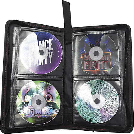 Maxell Traditional CD & DVD Travel Case - Leather, Polypropylene - Black - 64 CD/DVD