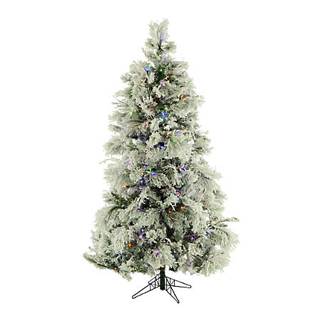 Fraser Flocked Snowy Pine Christmas Tree With Multicolor LED String Lighting, 7 1/2', Snow