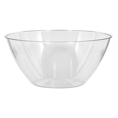 "Amscan 5-Quart Plastic Bowls, 11"" x 6"", Clear, Set Of 5 Bowls"