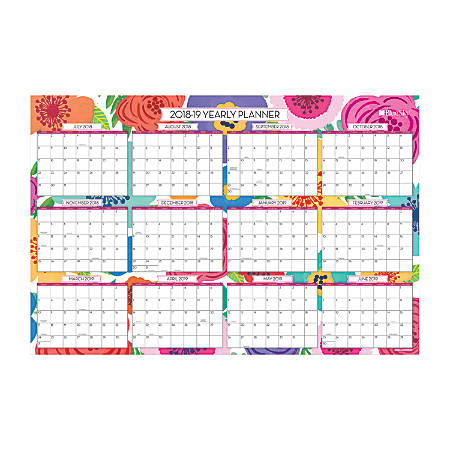 """Blue Sky™ Dry-Erase 18-Month Yearly Wall Calendar, 24"""" x 36"""", Mahalo, July 2018 to December 2019"""