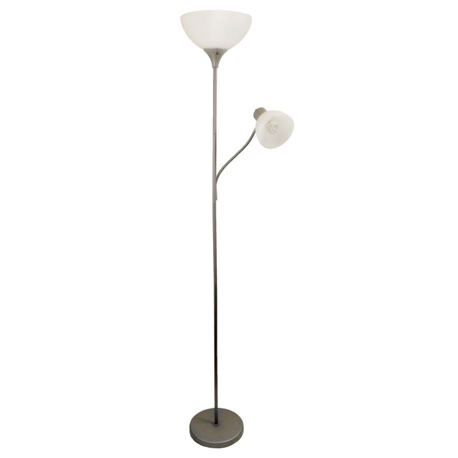 Exceptionnel Simple Designs Floor Lamp With Reading Light 71 12 H Clear ShadeSilver Base  By Office Depot U0026 OfficeMax