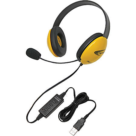 Califone Yellow Stereo Headset w/ Mic, USB Connector - Stereo - USB - Wired - 32 Ohm - 20 Hz - 20 kHz - Over-the-head - Binaural - Supra-aural - 5.50 ft Cable - Electret Microphone - Yellow