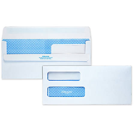 "Quality Park® Redi-Seal™ Double-Window Security Envelopes, #10, 4 1/8"" x 9 1/2"", White, Box Of 500"