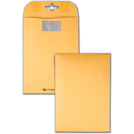 """Quality Park™ Postage Savings ClearClasp® Envelopes, 6"""" x 9"""", Brown Kraft, Pack Of 100"""