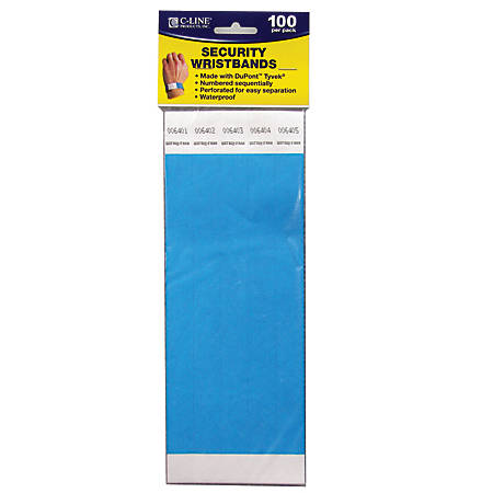 "C-Line® DuPont™ Tyvek® Security Wristbands, 3/4"" x 10"", Blue, 100 Wristbands Per Pack, Set Of 2 Packs"