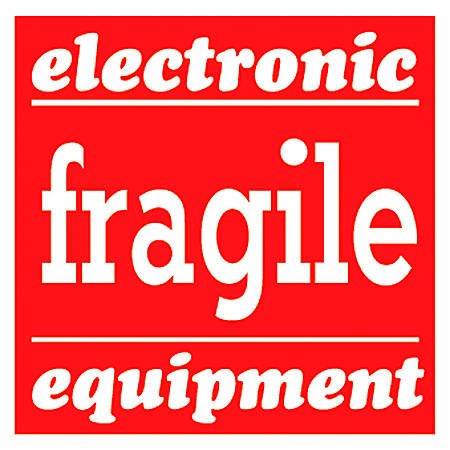 """Tape Logic® Preprinted Shipping Labels, SCL526, """"Electronic Fragile Equipment,"""" 4"""" x 4"""", Red/White, Pack Of 500"""