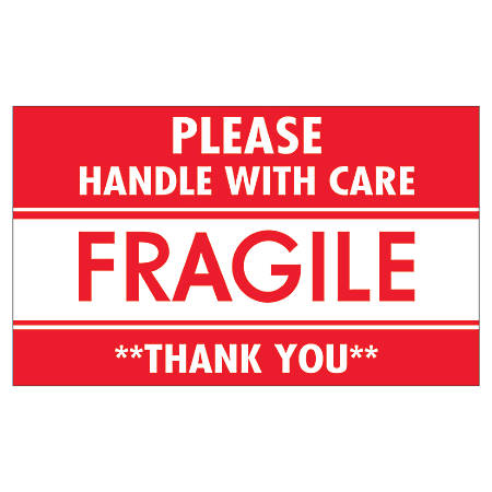 "Tape Logic® Preprinted Shipping Labels, SCL536, ""Please Handle With Care Fragile Thank You,"" 3"" x 5"", Red/White, Pack Of 500"