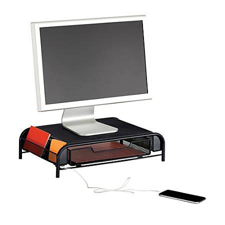 Safco® USB Powered Onyx™ Mesh Desk Organizer, Monitor Stand, Black