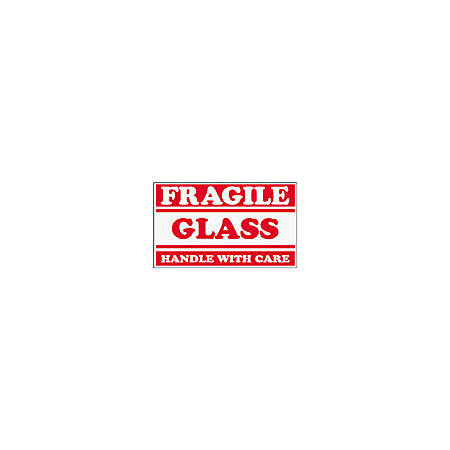 "Tape Logic® Preprinted Shipping Labels, SCL547, ""Fragile Glass Handle With Care,"" 3"" x 5"", Red/White, Pack Of 500"