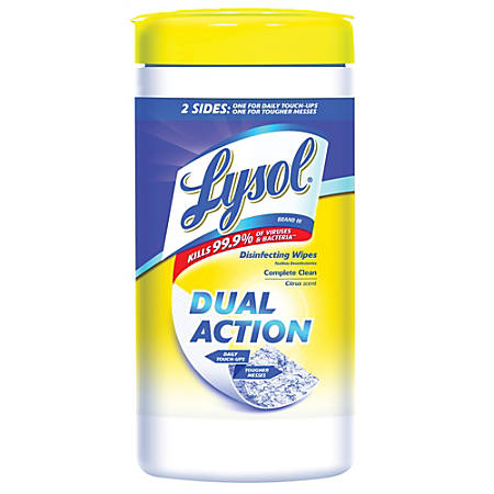 "Lysol® Dual-Action Disinfecting Wipes, Citrus Scent, 7"" x 8"", Container Of 75"