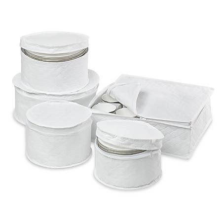 Honey-Can-Do 5-Piece Dinnerware Storage Set, White