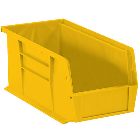 """Office Depot® Brand Plastic Stack And Hang Bin Boxes, 14 3/4"""" x 8 1/4"""" x 7"""", Yellow, Pack Of 12"""