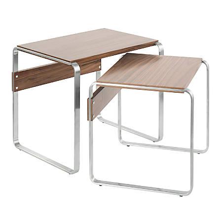 Lumisource Tea Side Mid-Century Modern Nesting Tables, Rectangular, Walnut/Stainless Steel, Set Of 2 Tables