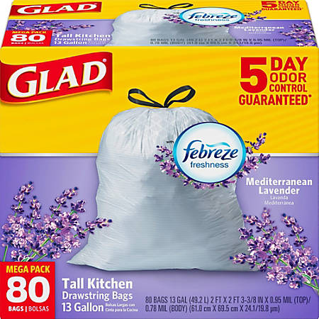 Glad OdorShield Tall Kitchen Drawstring Trash Bags - 13 gal - 0.78 mil (20 Micron) Thickness - White - 80/Box - 80 Per Box - Garbage, Office, Kitchen