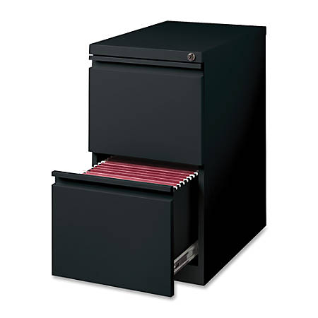 "Lorell® 22-7/8""D Vertical 2-Drawer Mobile Pedestal File Cabinet, Metal, Black"