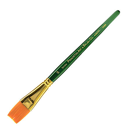 "Princeton Series 4350 Paint Brush, 3/4"", Stroke Bristle, Synthetic, Green"