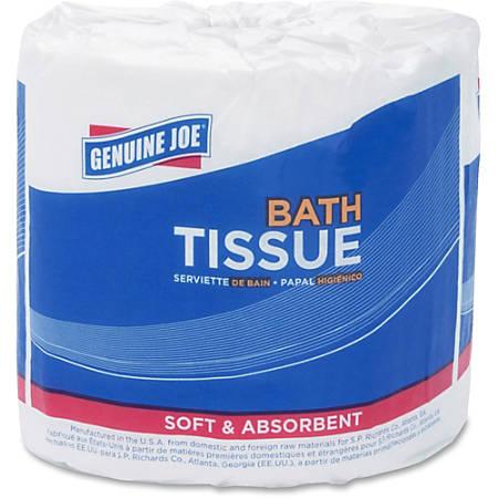 Genuine Joe 400-sheet 2-ply Standard Bath Tissue - 2 Ply - 400 Sheets/Roll - White - Fiber - For Bathroom - 96 / Carton