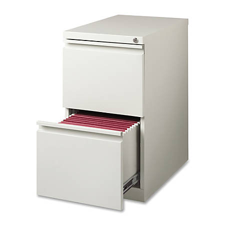 "Lorell® 22 7/8""D Mobile Letter-Size Pedestal File Cabinet, File/File, Light Gray"
