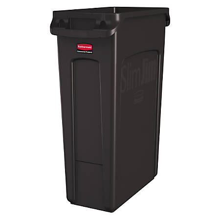 Rubbermaid® Slim Jim Rectangular Polyethylene Vented Waste Receptacle, 23 Gallons, Brown