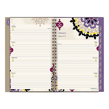 """Cambridge® Vienna Weekly/Monthly Planner, 5-1/2"""" x 8-1/2"""", Purple, January to December 2020"""