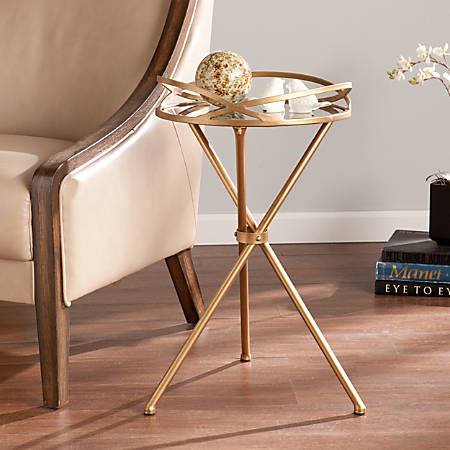 Southern Enterprises Leslie Mirrored Accent Table, Round, Antique Bronze