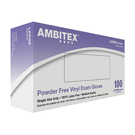 Tradex International Powder-Free Vinyl Exam Gloves, Large, Clear, Box Of 100