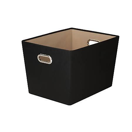 "Honey-Can-Do Large Decorative Storage Bin With Handles, 18 3/4""L x 14 3/8""W x 12 5/8""H, Black"