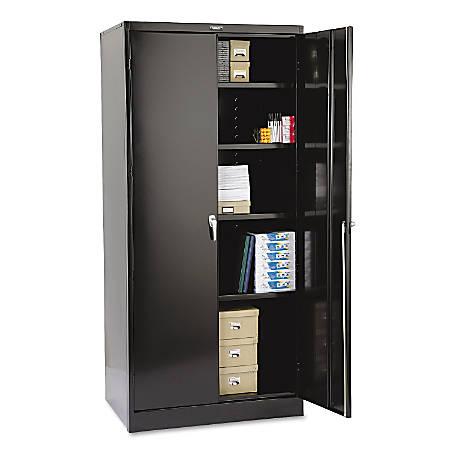 """Tennsco Deluxe Steel Storage Cabinet, 4 Adjustable Shelves, 78""""H x 36""""W x 24""""D, Black"""