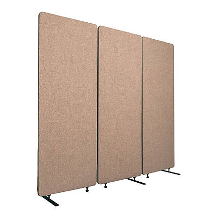 """Luxor RECLAIM Acoustic Privacy Panel Room Dividers, 66""""H x 24""""W, Desert Sand, Pack Of 3 Room Dividers"""
