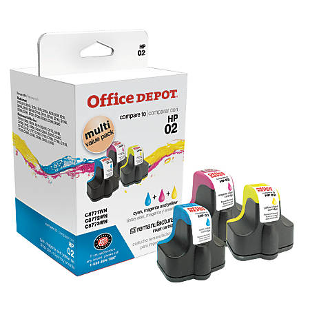 Office Depot® Brand OD02CMY (HP 02) Remanufactured Tricolor Ink Cartridges, Pack Of 3