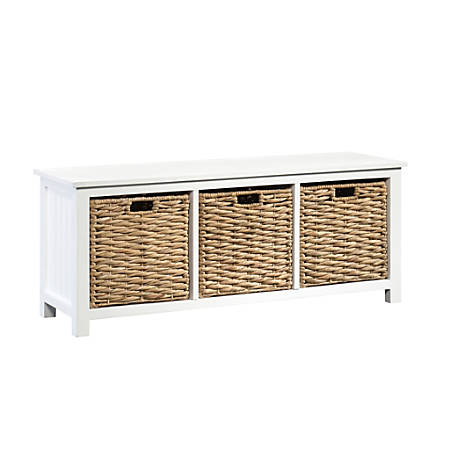 Sauder® Cottage Road Storage Bench With Wicker Baskets, 2 Fixed Shelves, White