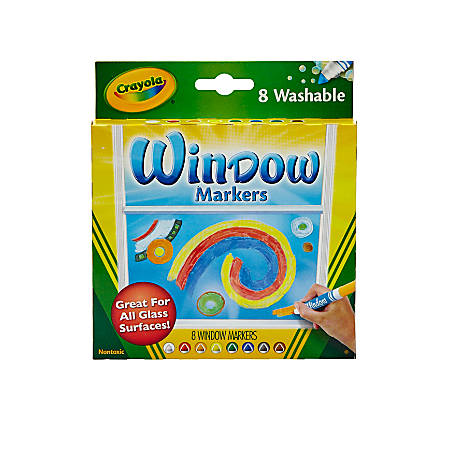 Crayola® Washable Window Markers, Conical Tip, Assorted Colors, Box Of 8