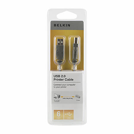 Belkin® Pro Series USB 2.0 Cable, A/B, 6', Gray