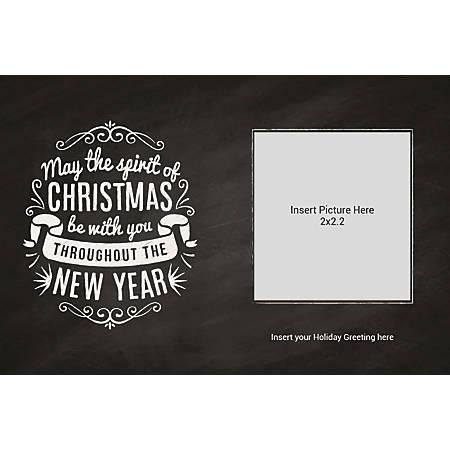 Flat Photo Greeting Card, Merry Christmas Chalk, Horizontal