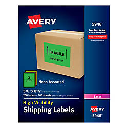 Avery High Visibility Shipping Labels AVE5946