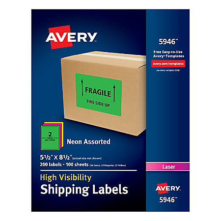 "Avery® High-Visibility Shipping Labels, AVE5946, 5 1/2"" x 8 1/2"", Assorted Colors, Box Of 200"