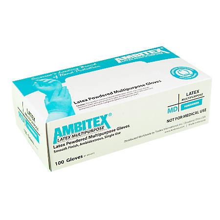Tradex International Latex General Purpose Gloves, Large, White, Box Of 100