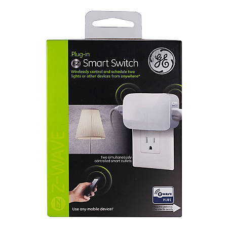 GE Z-Wave Plus Plug-In Dual Outlet Smart Switch, White, 14282