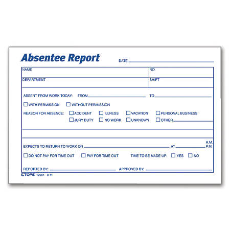 "TOPS® Absentee Report, 6"" x 4"", Pack Of 100"