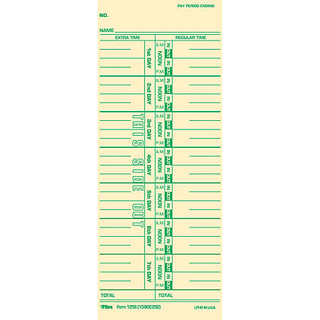 "TOPS Numbered Days Time Cards - 3 1/2"" x 9"" Sheet Size - Manila Sheet(s) - Green Print Color - 100 / Pack"