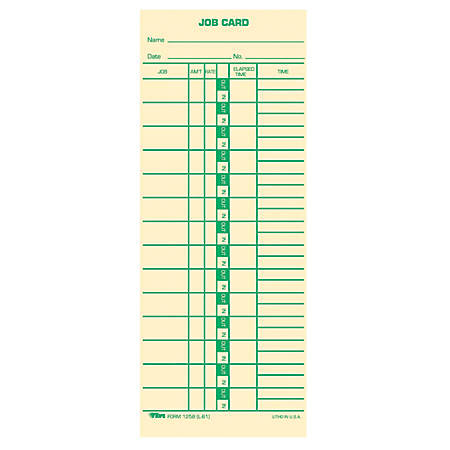 """TOPS® Time Cards (Replaces Original Card L61), Job Card Form, 1-Sided, 9"""" x 3 1/2"""", Box Of 500"""