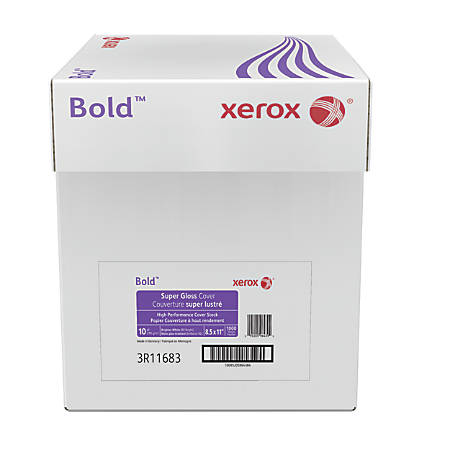 "Xerox® Bold Digital™ Super Gloss Cover, Letter Size (8 1/2"" x 11""), 92 (U.S.) Brightness, 10 Pt (219 gsm), FSC® Certified, Ream Of 250 Sheets, Case Of 4 Reams"