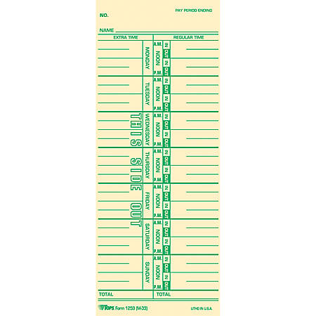 "TOPS Named Days Time Cards - 3 1/2"" x 9"" Sheet Size - Manila Sheet(s) - Green Print Color - 100 / Pack"