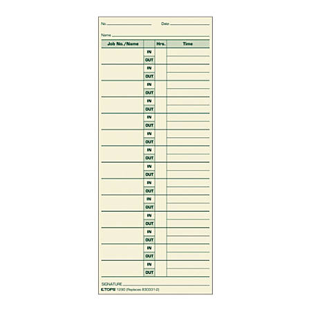 """TOPS® Job Cards Time Cards, 8.5"""" x 3.5"""", Green Ink/Manila Paper, Box Of 500"""