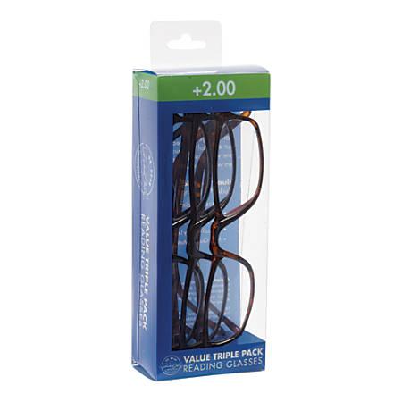 Dr. Dean Edell Plastic Reading Glasses, +2.00, Pack Of 3