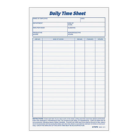 tops daily time sheet forms 9 5 x 6 blackwhite 100 sheets per pad 2 pads per pack office depot. Black Bedroom Furniture Sets. Home Design Ideas