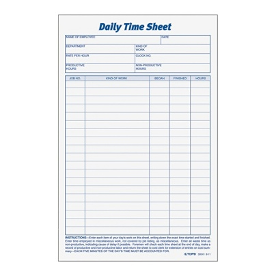 tops daily time sheet forms 9 5 x 6 blackwhite 100 sheets per pad 2